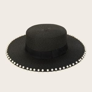 Hat with Faux Pearl Trim